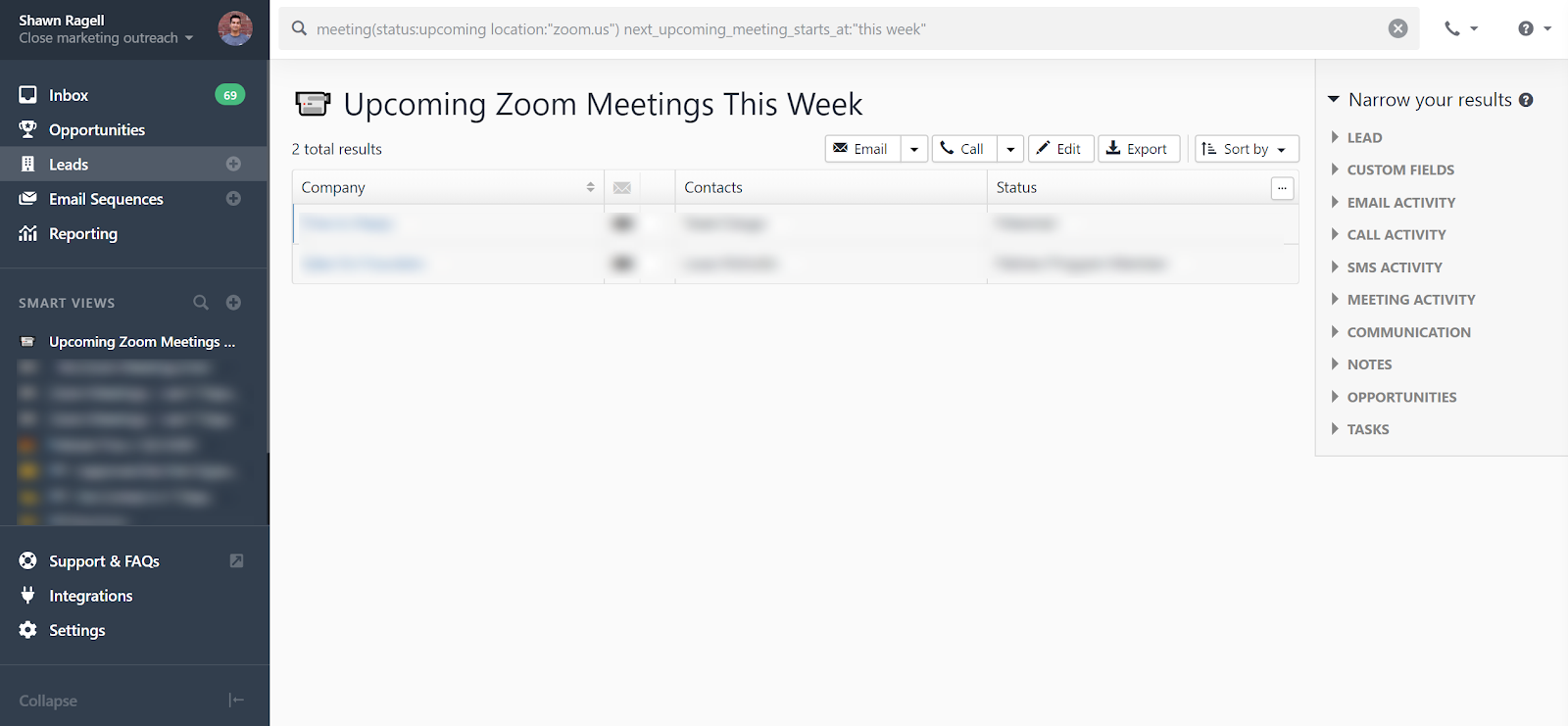 upcoming zoom meetings this week