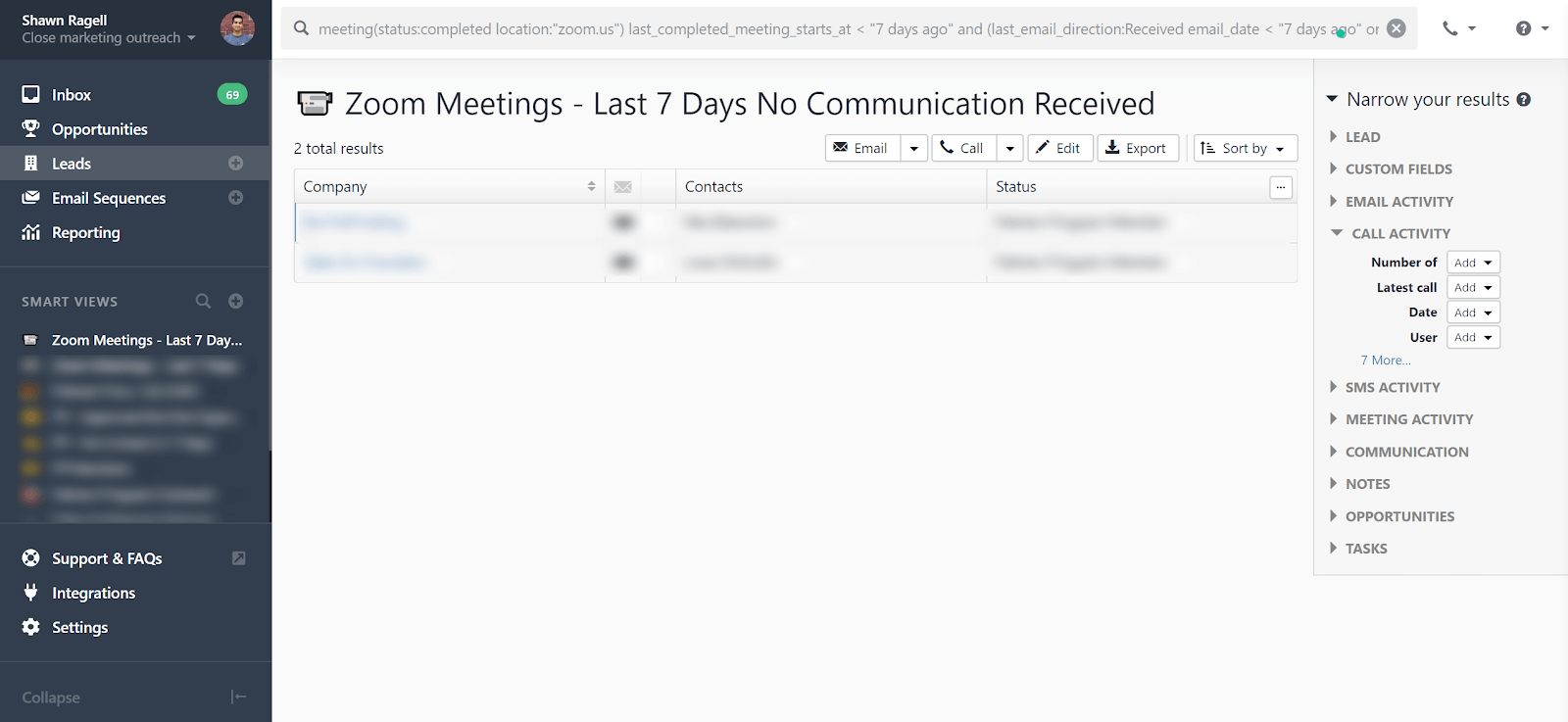 zoom meetings last 7 days no communication recieved