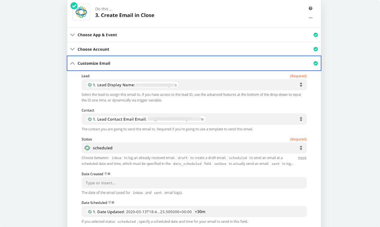 create email in Close