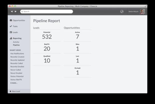 Pipeline reporting in Close