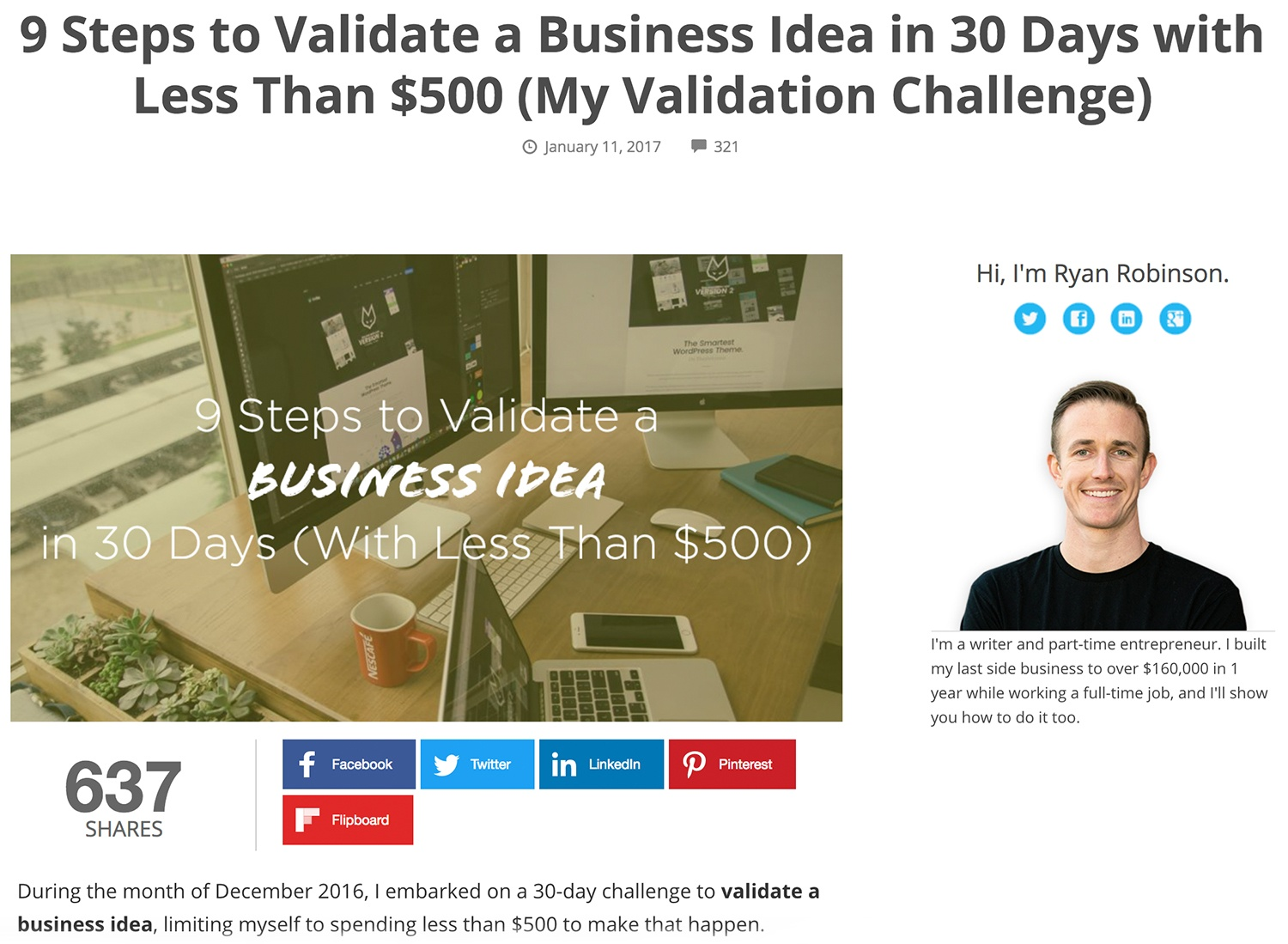 Lead Generation Ideas Validation Blog Challenge Ryan Robinson ryrob.jpg