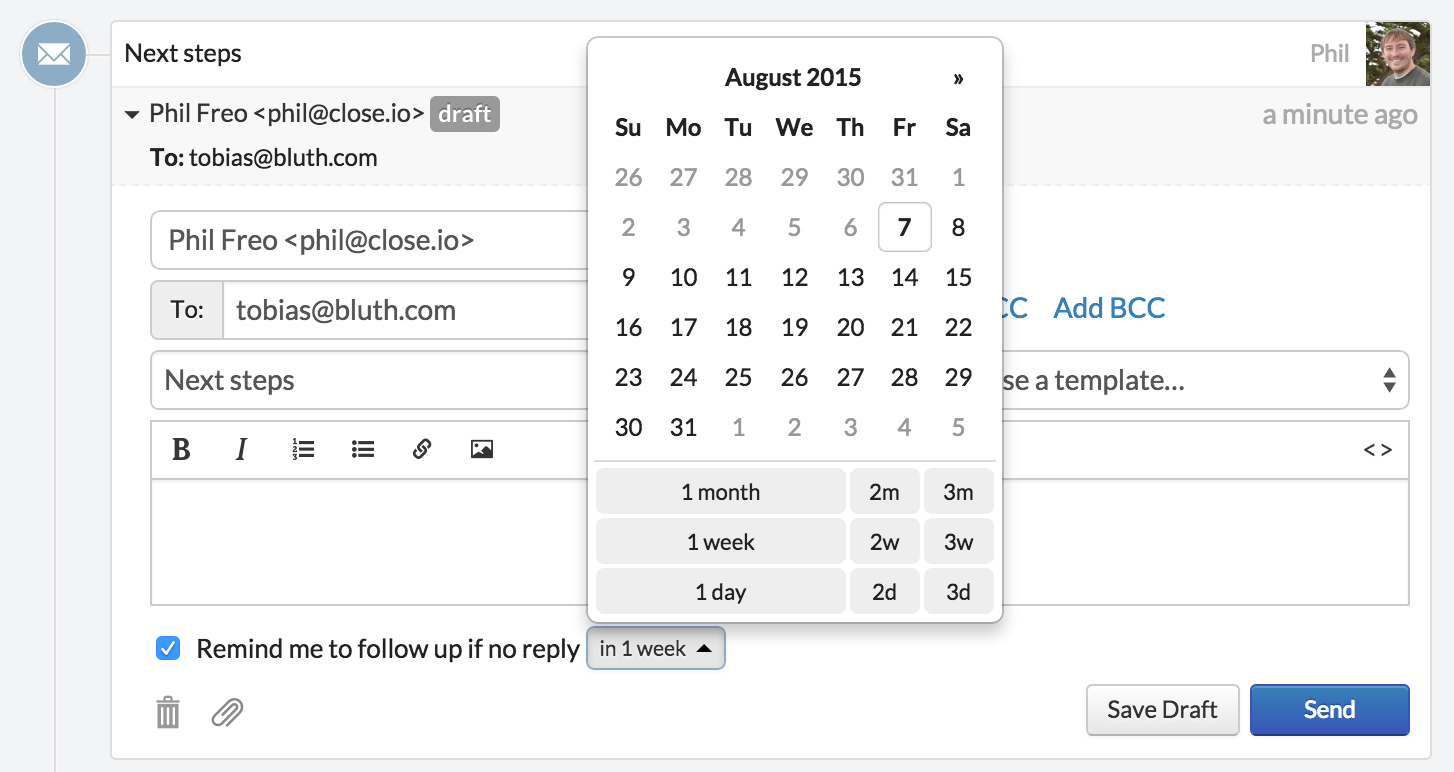 schedule email follow ups from your sales CRM