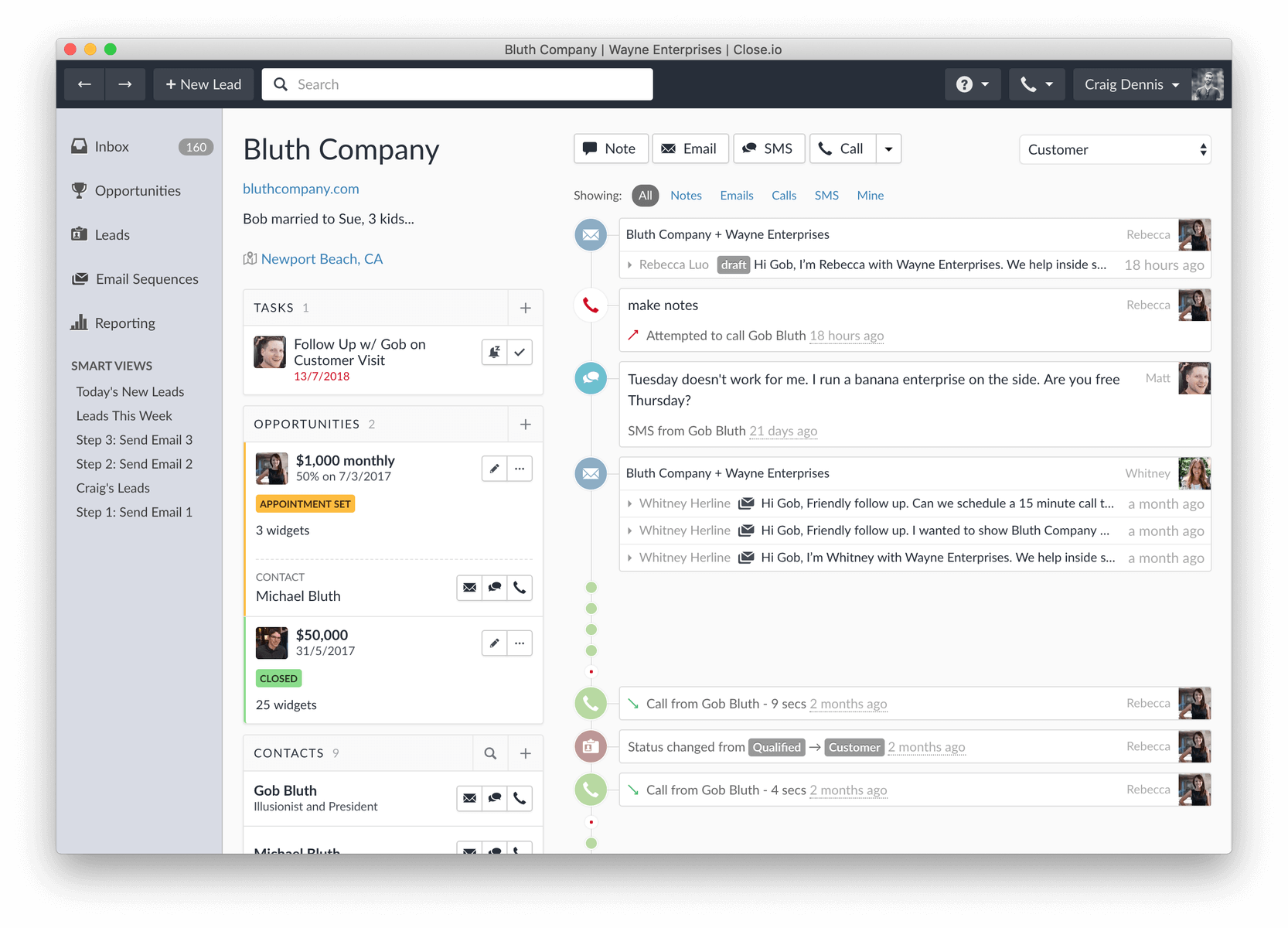 Screenshot of what the left navigation of our sales CRM looked like between 2013 to 2018
