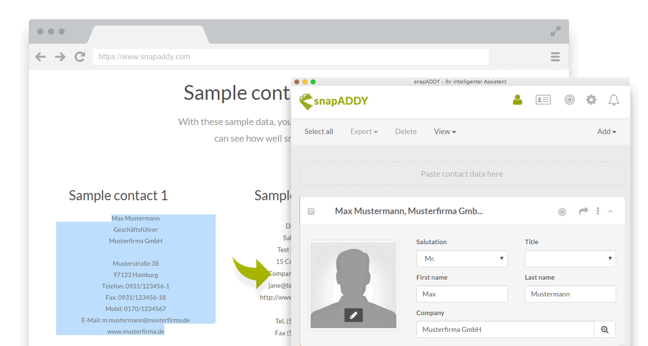 Integration: Find B2B contact data with snapADDY
