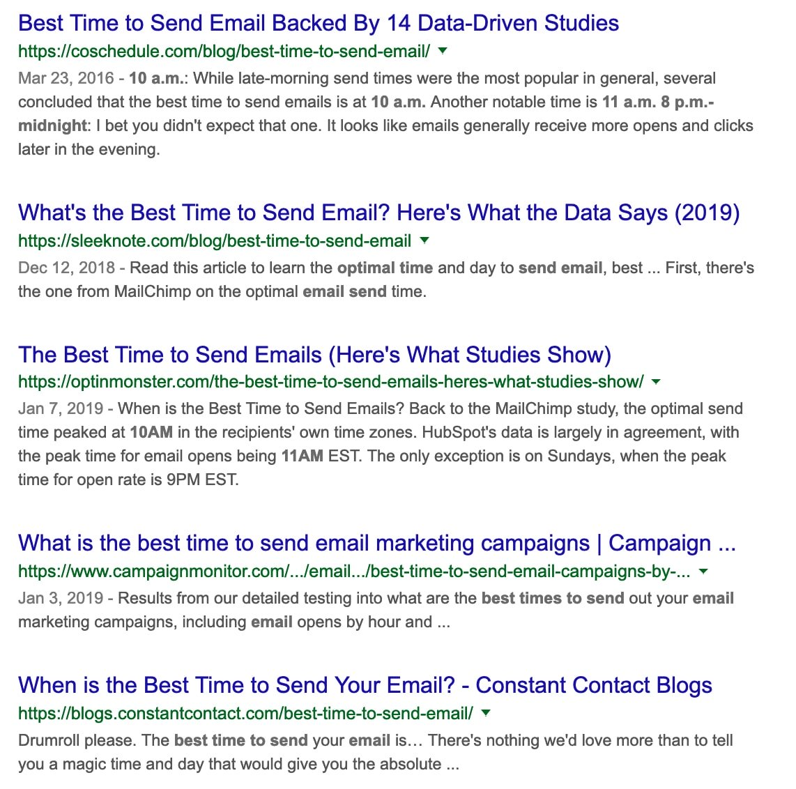 sales-emails-best time to send emails Google search