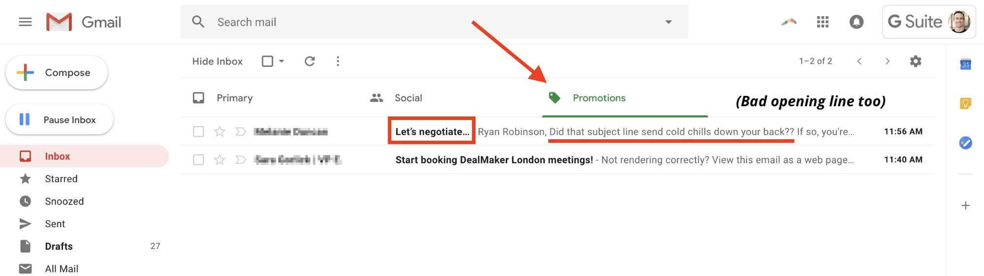 sales-emails-subject line example in Gmail promotions tab