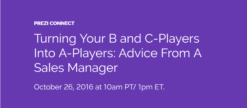 Upcoming webinar: Turn your B & C-players into A-players