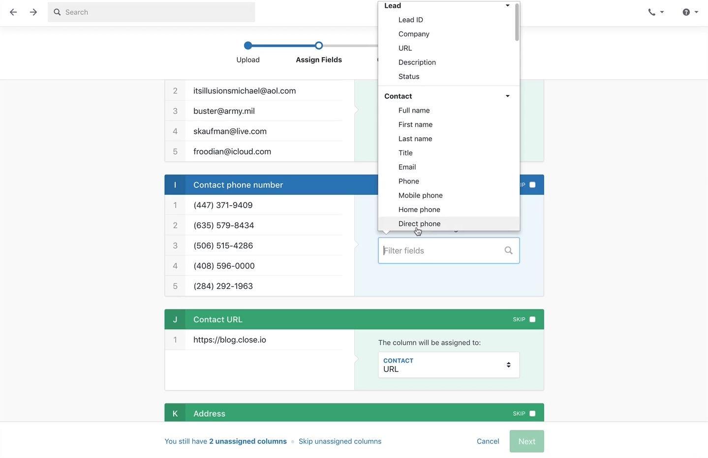 CRM vs spreadsheet migrate step 4