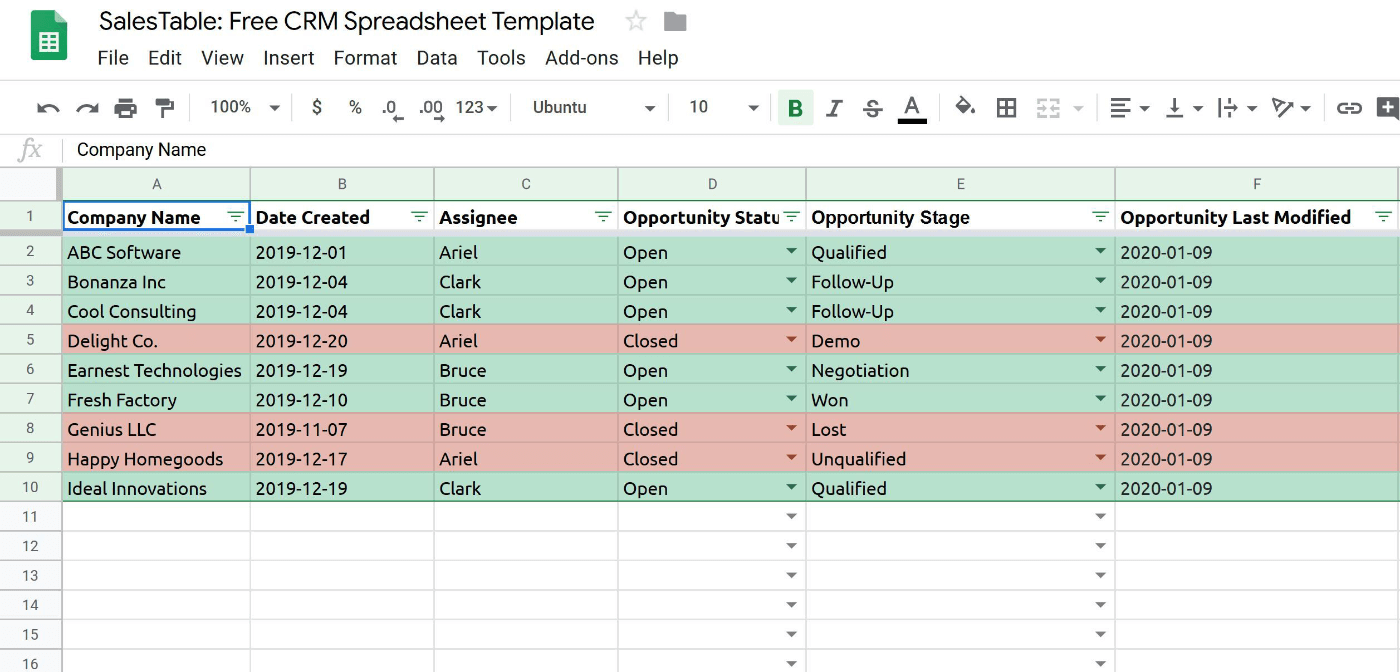 Salestable-CRM-Spreadsheet