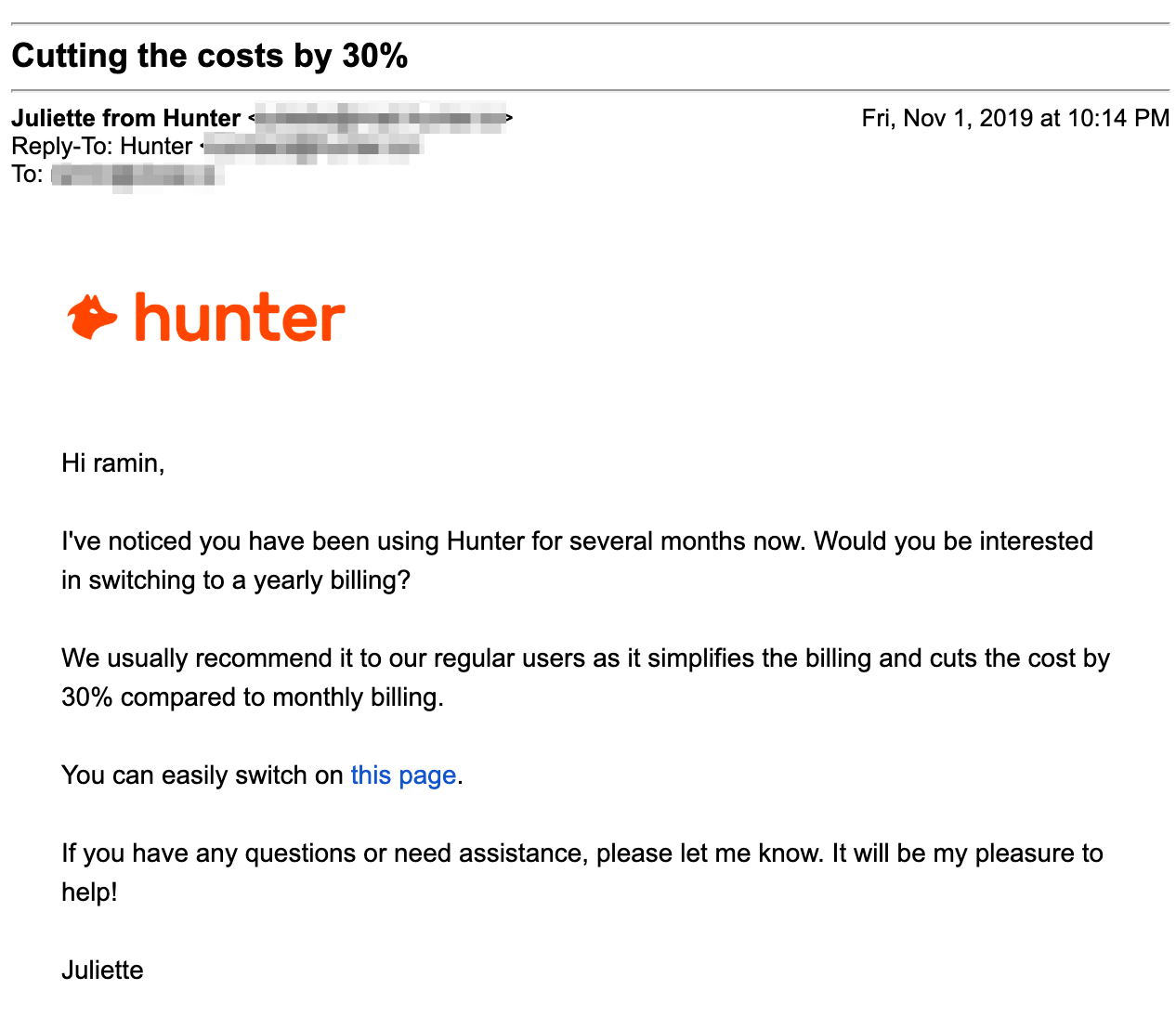 annual plan upgrade email by hunter