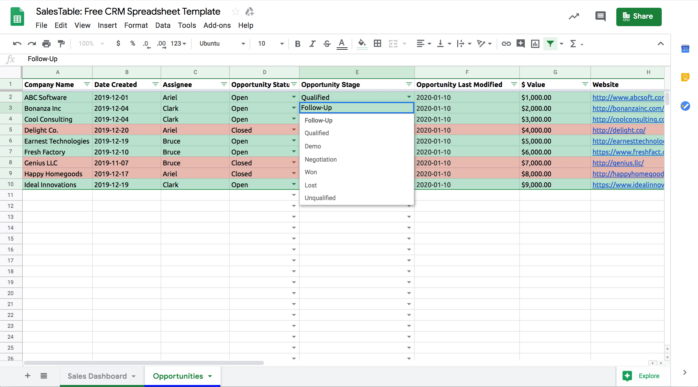 Google-sheets-CRM-template-opportunity-stage